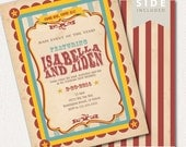 Circus Invitation, Carnival Invitation, Big Top - Printable Birthday Party Invite - Vintage Red