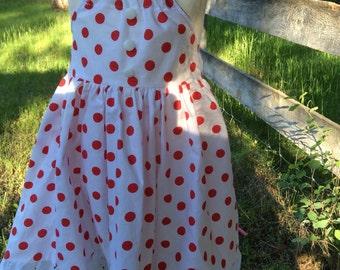 Girls  red polka dot dress,toddler dress for summer,photo prop, birthdays