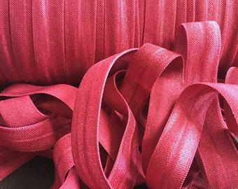Save on Shipping! 5/8 Metlot Red Fold Over Elastic FOE You Choose Length DIY Headbands