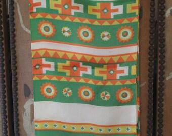70s Baar & Beards yellow, orange and green geometric scarf