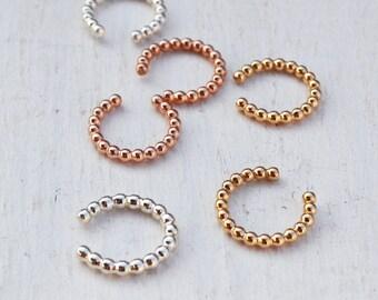 Beaded Ear Cuff, No Piercing Ear Cuff,  Minimalist Ear Wrap, Adjustable Cuff Earring, Huggie Earring, Gold Filled or  Sterling Silver