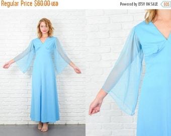 ON SALE Vintage 70s Blue Angel Sleeve Dress Hippie Boho Maxi Medium M  5200