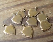 Small Brass Ox Shield Shape Charms 18x13mm Made in USA (8)