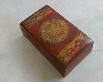 Micro Mosaic Box, Wooden Jewelry Box, Rust Red Upcycled Box, Moroccan Khatam Marquetry Box, Inlaid Wood Box Geometric, Vanity Treasure Box