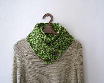 Crochet Wrap Button Scarf, Woodland Green Brown Cowl Knit, Men Women Chunky Neckwarmer, Outlander Infinity Long Scarf, Winter Handknit Gift