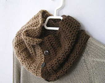 Chunky Tube Scarf Knit, Color block Brown Sand Infinity Buttoned Cowl Scarf, Rustic Outlander Handknit Winter Fashion , Man Woman Neckwarmer