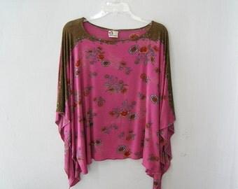 Boho Kaftan Poncho Shirt, Plus Size Caftan Blouse Loose Fitting, Woman Pink Floral Summer Top, Flower Kimono Shirt Lagenlook Hippie Clothing