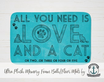 """Plush Bath Mat 34x21"""" - All You Need is Love and a Cat 