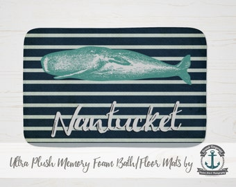 Plush Bath Mat - Nantucket | Nautical Humpback Whale Beach House Decor | Thick Memory Foam + Mold Resistant | Choose Size at Checkout.