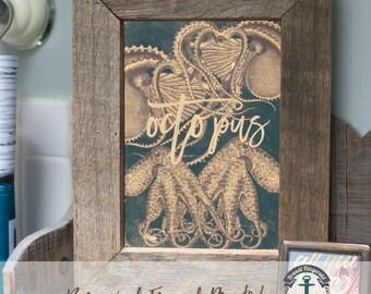 Nautical Octopus - Framed Print in Reclaimed Barnwood Coastal Beach House Style - Handmade Ready to Hang | Size & Price via Dropdown