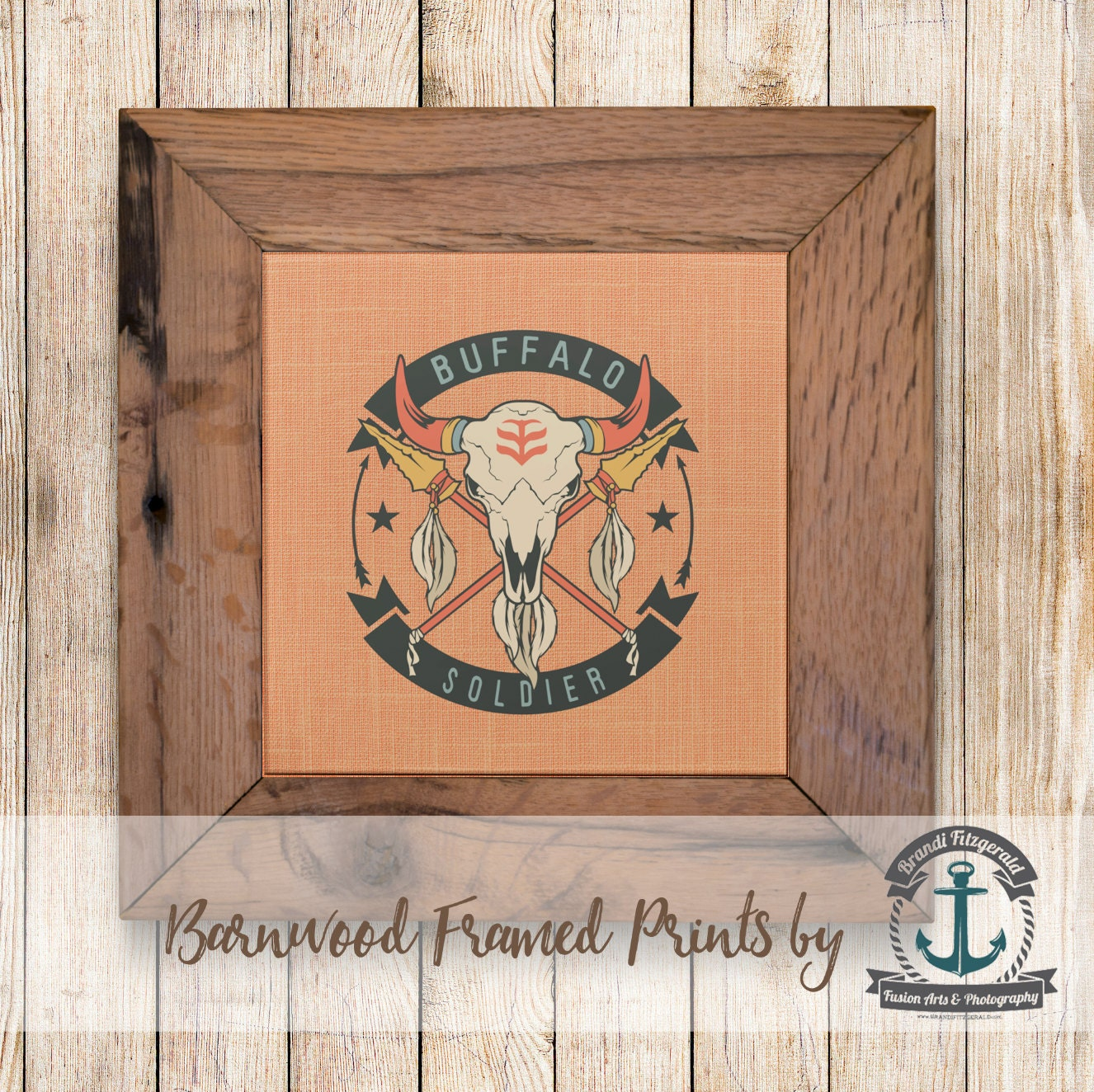 Buffalo Soldier Skull Framed In Reclaimed Barnwood
