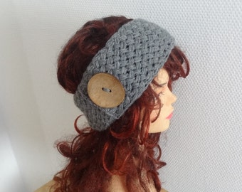 Handmade Knit Headband Plait GRAY Knitted Headband Hand knit headband, head wrap, ear warmer accessories, knit black headband with button