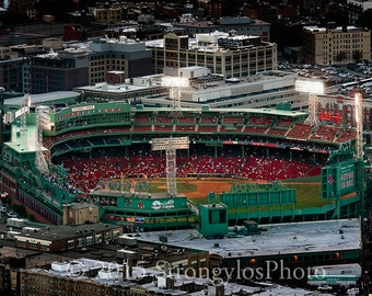 Fenway Park at night photo, Boston Red Sox, baseball park, Prudential Tower, 4 Yawkey Way, Boston Skyline