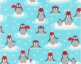 Penguins on Aqua from Robert Kaufman's Polar Pals by Andie Hanna