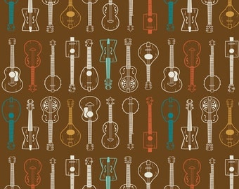 String Band Guitars on Brown from Blend Fabric's Folk Melody Collection by Michael Korfhage