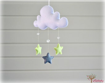 Star mobile - cloud mobile - white, pistachio green and silver grey - baby mobile - nursery decor - MADE TO ORDER