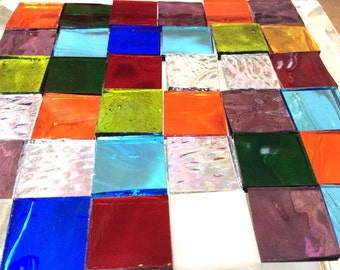 """TRANSPARENT 3/4"""" GRAB BAG Mosaic Mix MultiColor Stained Glass Tile i-5"""