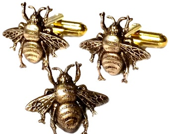 Bee Cufflinks & Tie Tack, Men's Handcrafted Victorian Style Brass Insect Bumblebee Cuff Links Set- Guy Prom Groom Wedding Mans Gift