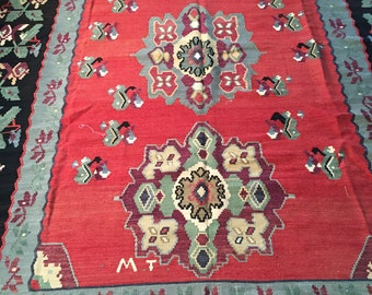 "Large Elegant Vintage Turkish Kilim 7'3"" x 10'1"""
