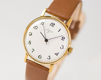 Slim wristwatch Ray, classical unisex watch gold plated, simple watch tomboy, men's timepiece, delicate wristwatch, gift leather strap new