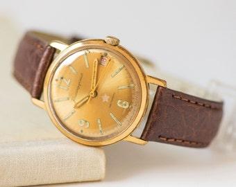 Military men's watch gold plated AU 20, Soviet watch Komandirskie, shockproof men watch, mechanical watch star on face, new premium leather