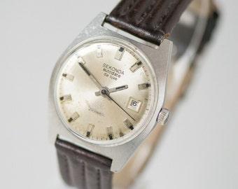 Unisex wristwatch Sekonda de luxe, automatic mens watch rare, waterpoof watch him, boyfriend watch silver shades, new genuine leather strap