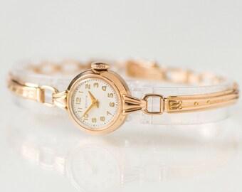 Micro watch golden Volga, rare retro women's watch gold 14K, petite wristwatch her, solid gold 583 Soviet watch, watch bracelet small wrist