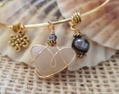 Charm Bangle Bracelet with Heart Stone, Celtic Charm and Grey/ Black Marbled Agate Gemstone