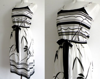 70s Black and White Floral Summer Dress - S M