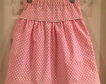 Sweetheart Skirt with Pockets and Piping, girls skirt, pink, hearts, piping, pockets