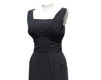 Vintage Black Crepe Sleeve Less Dress