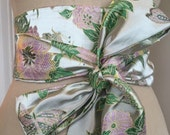 Pale green brocade obi sash, wedding obi belt, satin green pink obi sash belt , asian brocade belt, bridal sash , reversible obi