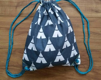 Teepee Drawstring Backpack - Toddler Backpack - Charcoal grey teepee print - Ready to ship