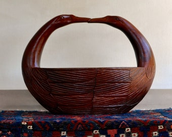 hand carved wooden basket with swan handles
