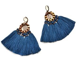 Teal Earrings, Tassel Earrings, Boho Earrings, Chandelier Earrings, Hippie Earrings, Statement Earrings, Fabric Earrings