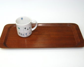 Made in Sweden Molded Teak Veneer Serving Tray by Silva - Mid Century Danish Modern Laminated Bent Wood