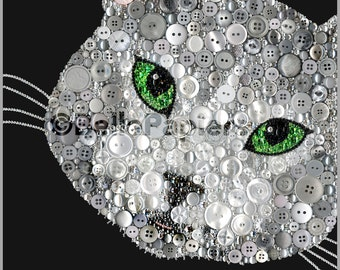 Cat Portraits | Cat Memorials | Dog Portraits | Button Art Cat Portrait Pet Portrait Cat Memorial Cat Painting Cat Decor Swarovski