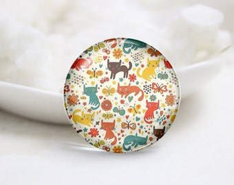 Handmade Round Cat Tiling Photo Glass Cabochons (P3575)