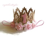 Gold Birthday Crown, 1st Birthday Crown, Floral Crown, Gold Rose Crown, Birthday Crown, Baby Girl Crown, Ready to Ship
