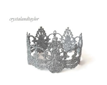 Silver Crown, Dainty Lace Crown, Photo Prop, Baby Prop, Newborn Prop, Princess Crown, Girl Crown, Queen Crown, Lace Tiara