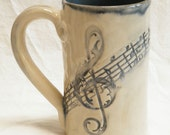 stoneware music script 16oz coffee mug handmade ceramic 16A068