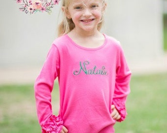 Girl's Long Sleeve Layering T shirt - PINK Long Sleeve Ruffle icing top - Icing Shirt - Fall Shirt -Girl's Ruffle shirt -Girl's shirt