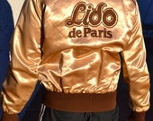 Vintage rare 60's Lido de Paris Las Vegas Stardust hotel casino showgirls satin jacket collectible  Made in California USA
