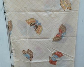 Vintage, pillowcase, butterflies,retro, standard, bedding, linens, fabric, vintage pillowcase, butterfly, orange, blue, brown, tan