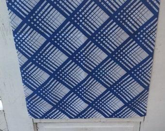 Vintage, blue and white pillowcase, squares, stripes, interlatched lines, geometrical design, bedding, retro pillowcase, morgan jones