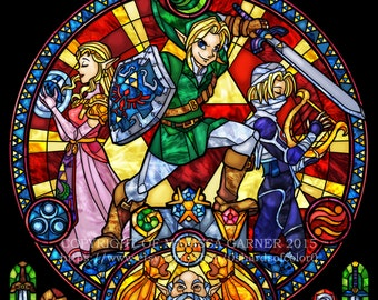 Rose Window Zelda: Ocarina of Time  - Stained Glass Transparency Print