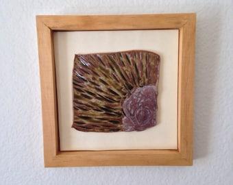 Textured, Framed Ceramic Art Tile