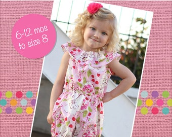 Whitney's Ruffle Neck Romper PDF Pattern size 6/12 months to size 8 girls