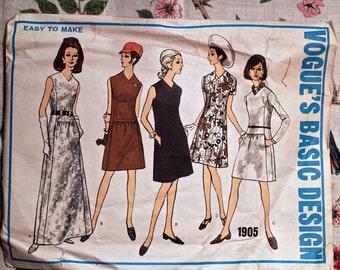 Vogue Basic Design Pattern 1905 V- Neckline A-line Dress 1960's Size 16