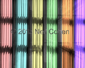 Interior view Art Institute of Chicago hanging curtains neon pink blue yellow green orange purple archival inkjet photograph